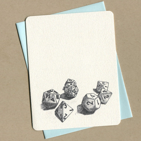 Outside of dirty greeting cards shows black and white illustration of Dungeons and Dragons dice set.
