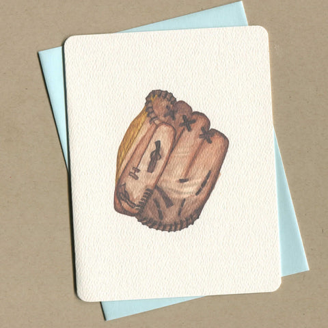Outside of dirty greeting card shows watercolor of a baseball glove.