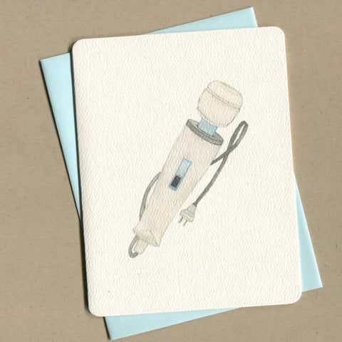 Outside of dirty greeting card shows watercolor of a magic wand vibrator.