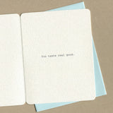 Inside of dirty greeting cards reads: You taste real good.