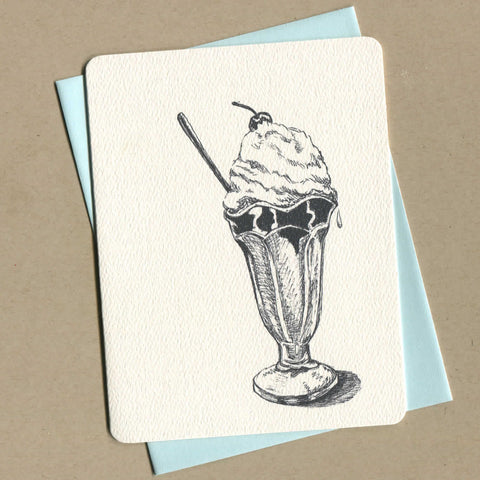 Outside of dirty greeting card shows a black and white illustration of an ice cream sundae