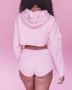 Pink Women Cum First Cropped Hoodie