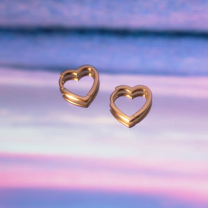 Sterling Mini Heart Hoops