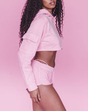 Load image into Gallery viewer, Pink Women Cum First Cropped Hoodie