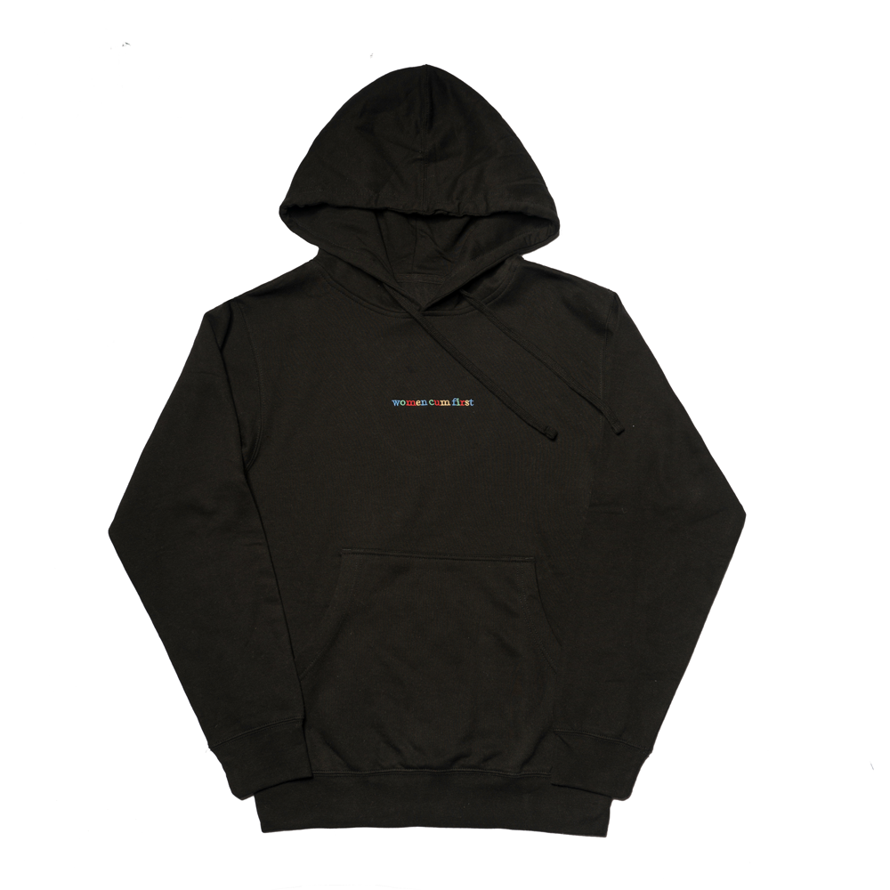 Black Hoodie with Women Cum First Embroidery