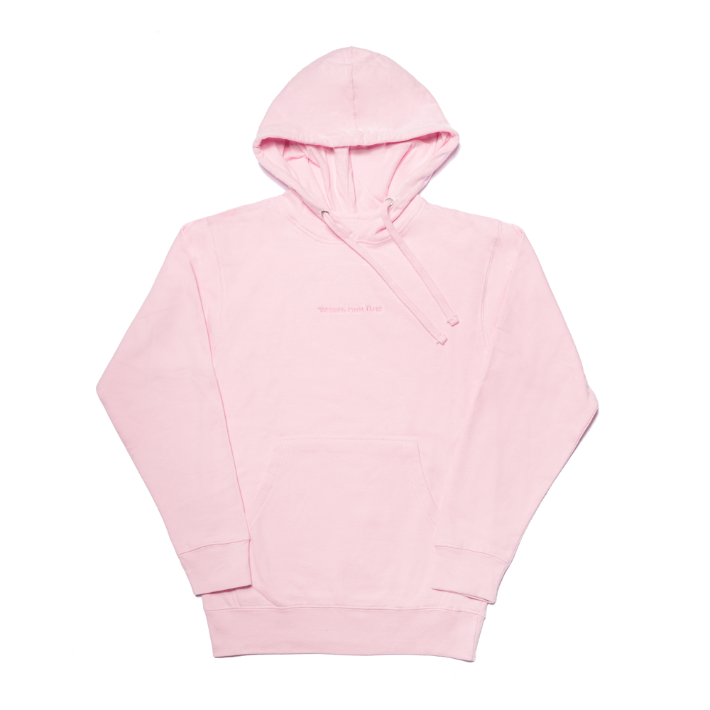 Pink Hoodie with Women Cum First Embroidery