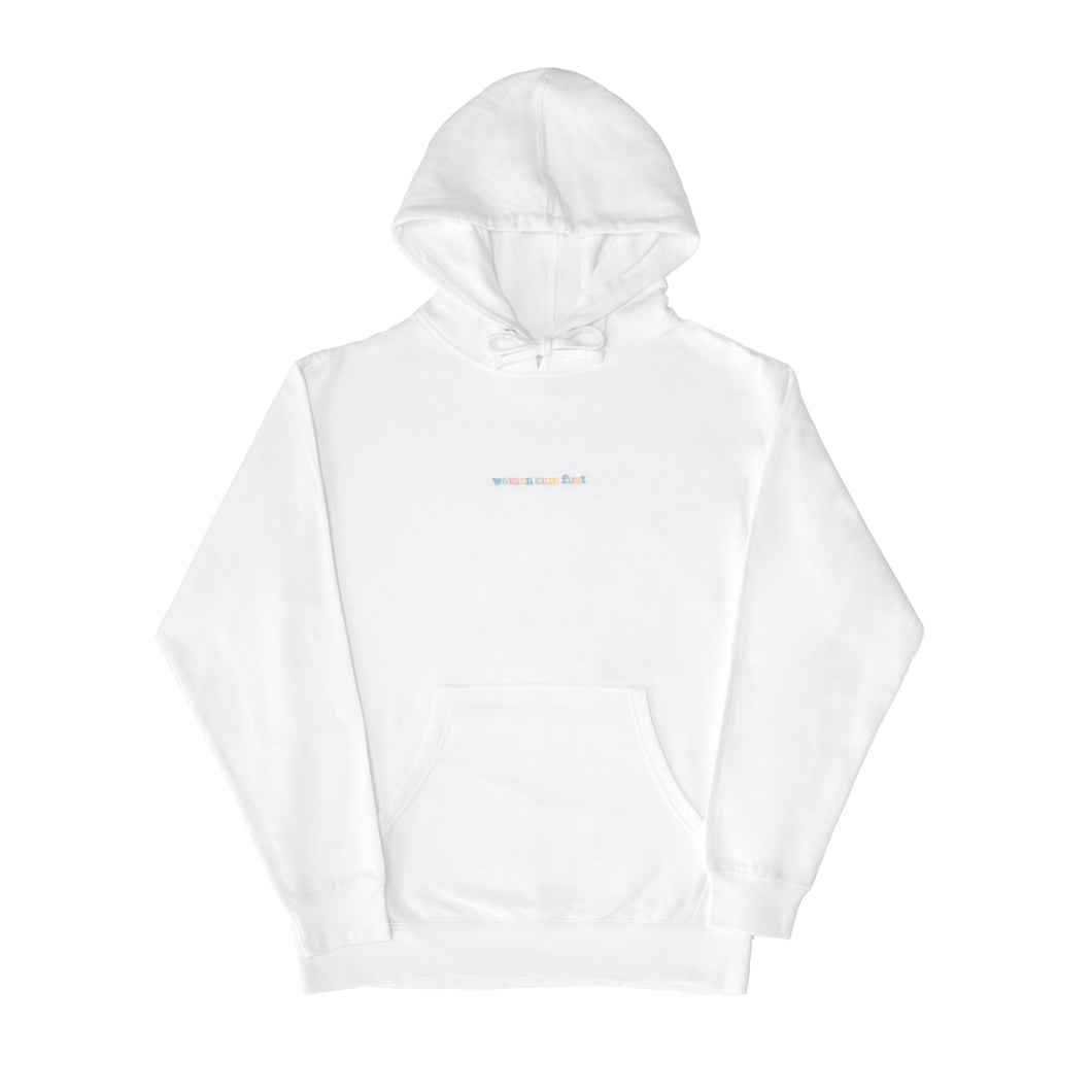 Women Cum First White Unisex Hoodie