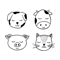 A small icon of a dog, cow, pig and a cat