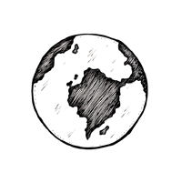 A small icon of a planet