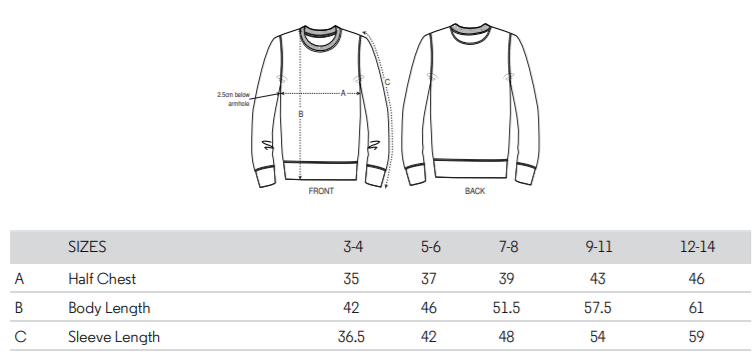 Kids Sweater Size Chart