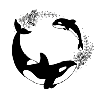 A small icon of orcas