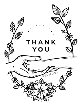 "A design featuring a human hand holding a hoof with the text ""Thank you"""