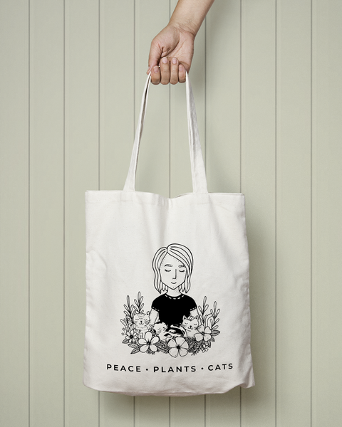 Peace Plants Cats - Totebag