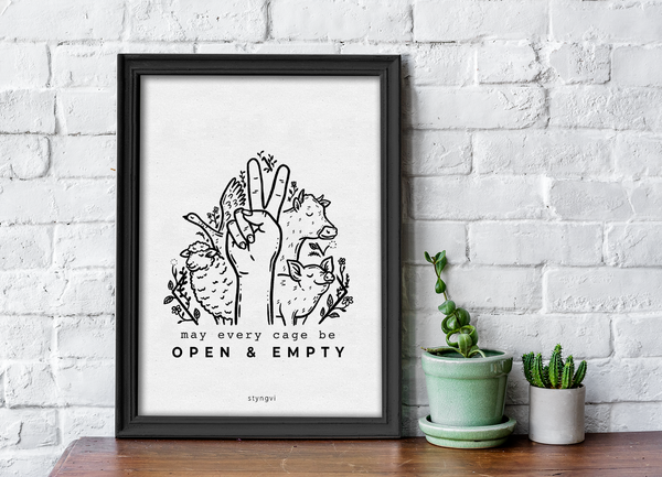 May Every Cage Be Open And Empty - Vegan A4 Art Print