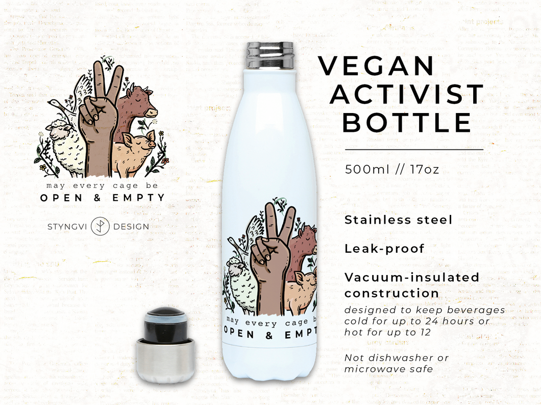 May Every Cage Be Open - Vegan Activist Stainless Steel Bottle