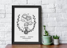 Load image into Gallery viewer, Custom Family Portrait - Couple Portrait - Personal Portrait - Pet Portrait - Hand drawn Illustration - Anniversary Gift - Valentines Gift
