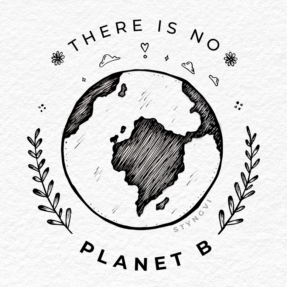 A drawing of a planet with the text