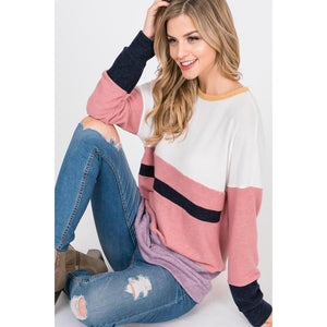 Color Me Cozy Color Block Top