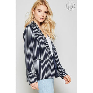 Blaze Your Own Trail Pinstriped Blazer Curvy