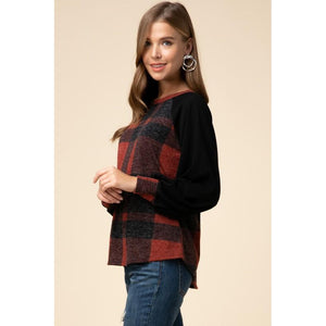 Fashionably Plaid Contrast Top