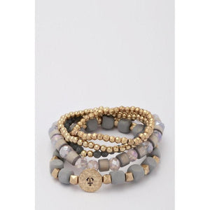 Anchor Disc Layered Stretch Bracelet Set-bracelet-Composed Rose