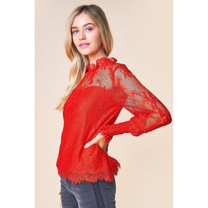 Belize Lace Mockneck Blouse-Tops-Composed Rose