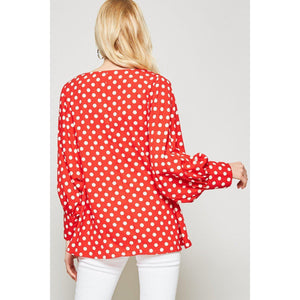 Big City Lights Polka Dot Top Curvy-Top-Composed Rose