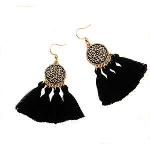 Black Tassel Drop Earrings-Earrings-Composed Rose
