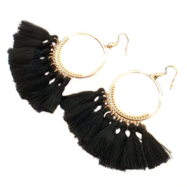 Black Tassel Hoop Earrings-Earrings-Composed Rose