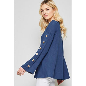 Blissfully Blue Bell Sleeve Shirt-Top-Composed Rose