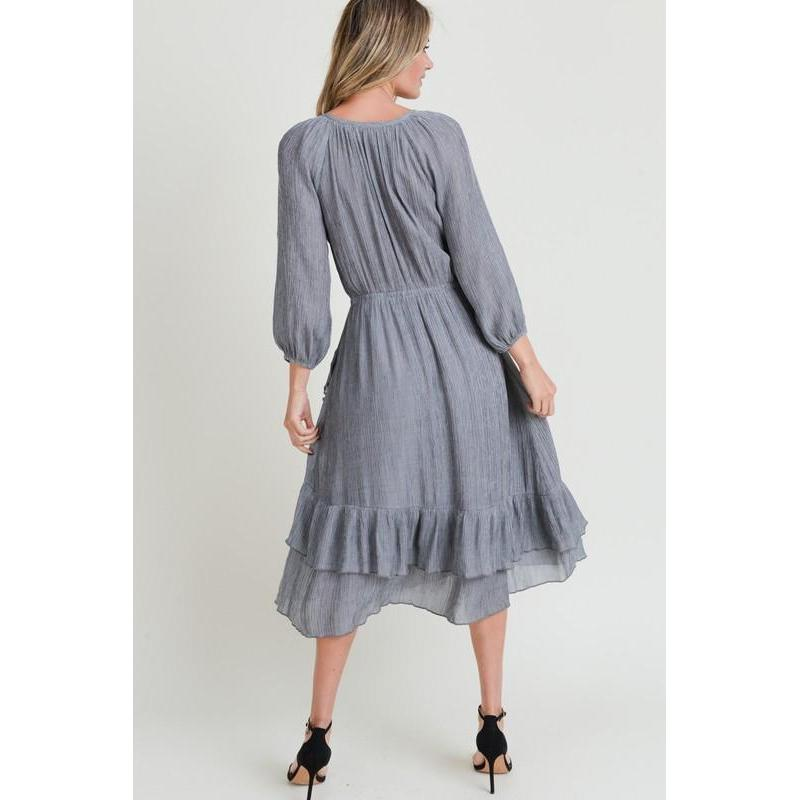 Can't Ruffle My Feathers Midi Dress-Dress-Composed Rose