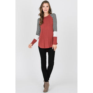 Casual Cutie Long Sleeve Baseball Tee-Top-Composed Rose