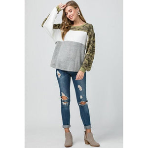 Comfy in Camo Color Block Long Sleeve Tee-Top-Composed Rose