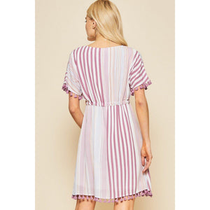 Dancing To Your Own Beat Striped Dress-Dress-Composed Rose
