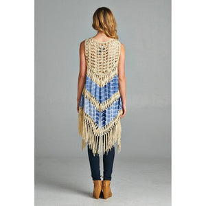 Festival Fringe Tie Dye Vest-Vest-Composed Rose