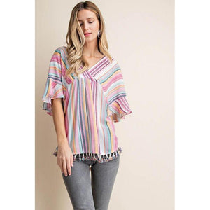 Fiesta All Day Striped Top-Top-Composed Rose