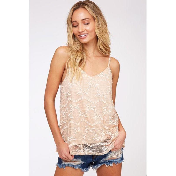 Flowers of Love Lace Cami Top-Top-Composed Rose