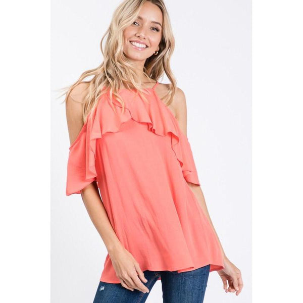 Forecast Is Sunny Cold Shoulder Top-Tops-Composed Rose