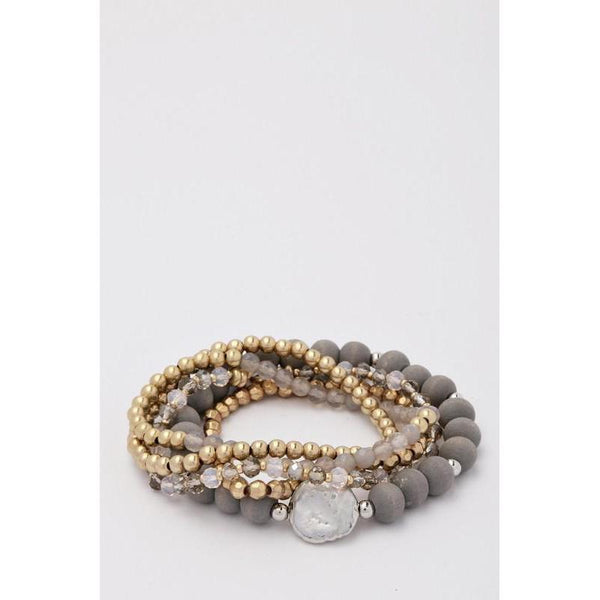 Grey Disc Multi Stretch Bracelet-bracelet-Composed Rose