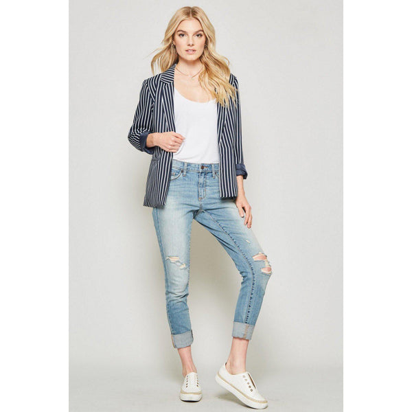 Blaze Your Own Trail Pinstriped Blazer