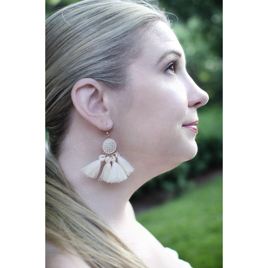 Ivory Tassel Drop Earrings-Earrings-Composed Rose