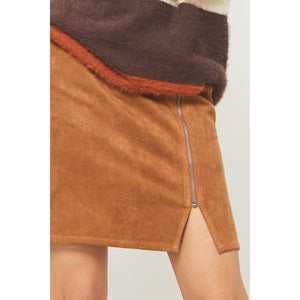 Best of Intentions Suede Skirt-Brown