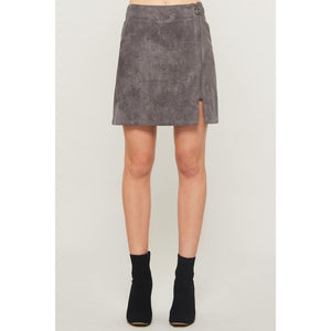 Best of Intentions Suede Skirt-Grey