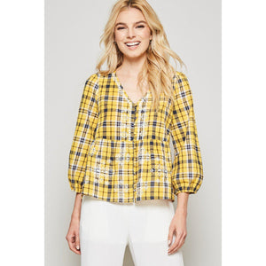 Lights Up A Dark Room Plaid Top-Top-Composed Rose