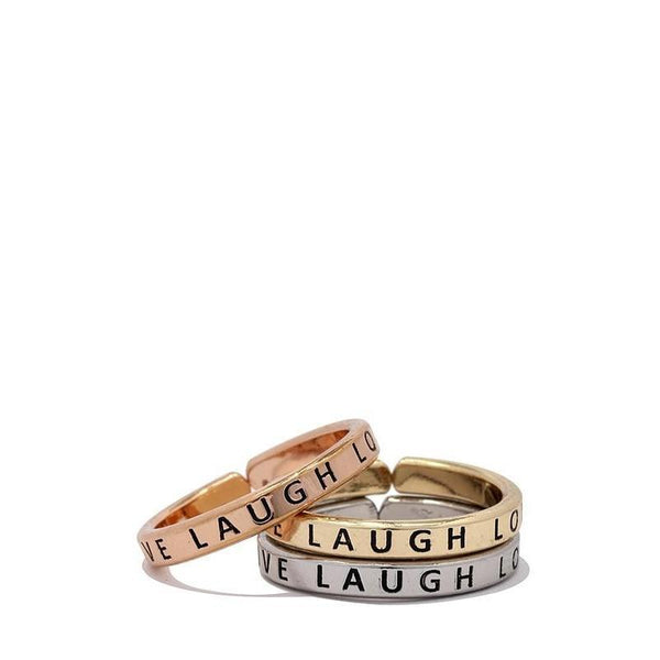 Live Laugh Love Ring Set-Ring-Composed Rose