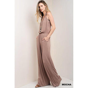 Mocha Please?! Wide Leg Jumpsuit-Jumpsuit-Composed Rose
