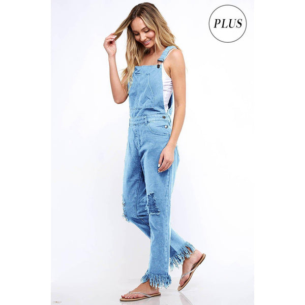 Modern Day Ellie May Distressed Denim Overalls-Curvy-Overalls-Composed Rose