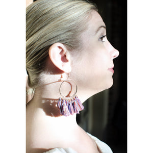 Multicolor Tassel Hoop Earrings-Earrings-Composed Rose