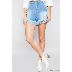 Nashville State of Mind Denim Fringe Shorts-Shorts-Composed Rose