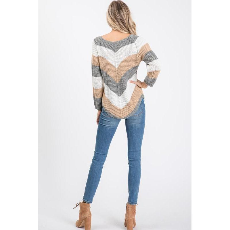 Natural Beauty Chevron Sweater-Top-Composed Rose